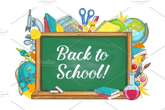 Back To School Vector Chalkboard Stationery Poster