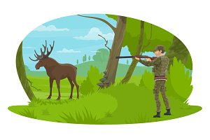 Vector hunter and hunt for elk flat design