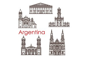 Argentina landmarks vector architecture line icons
