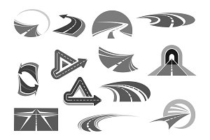Vector icons of roads tunnels and highway signs