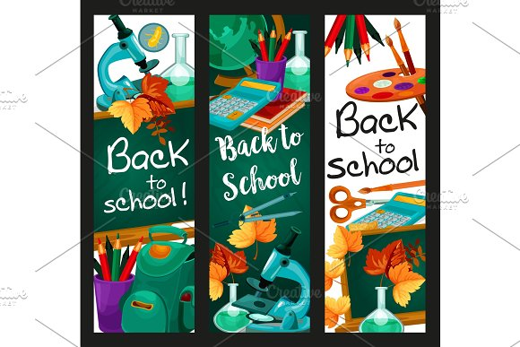 Back To School Vector Lesson Stationery Banners