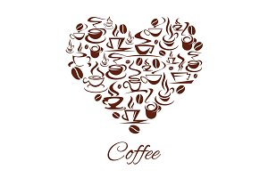 Vector coffeehouse cafe heart poster coffee cups