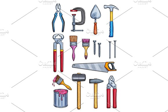 Vector Work Tools Home Repair Color Sketch Icons