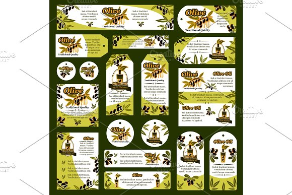 Vector Olives Olive Oil Tags And Banners
