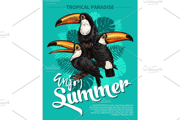 Vector Sketch Poster Of Tropical Palm And Bird