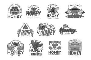 Honey beekeeping bee and honecomb vector icons