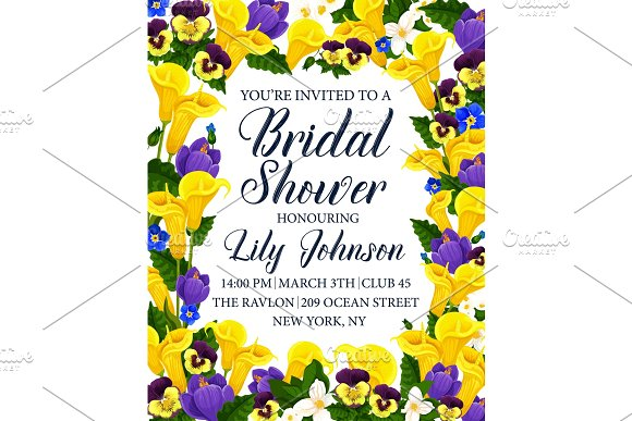 Bridal Shower Party Invitation Card With Flower