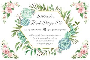 Watercolor Floral Design Kit