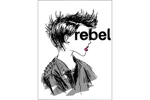 Rebel concept t-shirt print and embroidery