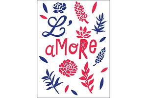 L'amore, love concept t-shirt print and embroidery