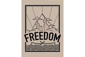 Freedom concept t-shirt print and embroidery