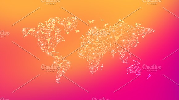 Polygon World Map On Multicolored Background