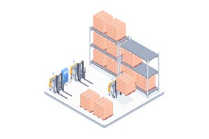 Smart warehouse isometric illustration