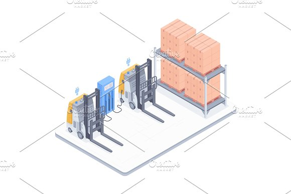 Warehouse With Forklifts Isometric Illustration