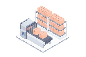 Automated boxing line with conveyor belt isometric illustration