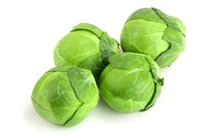 Brussels sprouts isolated on white background closeup