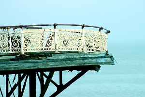 Derelict Seaside Pier Rust Railing