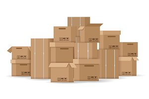Brown stacked cardboard boxes