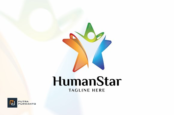Human Star Logo Template