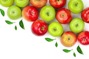 red and green apples decorated with leaves isolated on white background with copy space for your text, top view