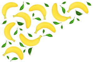 Seamless pattern from whole bananas with leaves isolated on white background with copy space for your text. Top view
