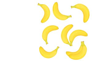 Seamless pattern from whole bananas isolated on white background with copy space for your text. Top view. Flat lay