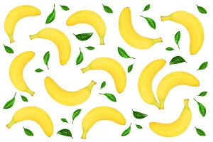 Seamless pattern from whole bananas decorated with green leaves isolated on white background. Top view. Flat lay