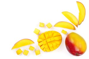 Mango fruit and half isolated on white background with copy space for your text. Top view. Flat lay