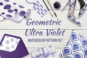 Geometric watercolor pattern set