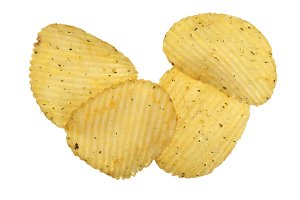 potato chips isolated on white background close-up. Top view. Flat lay