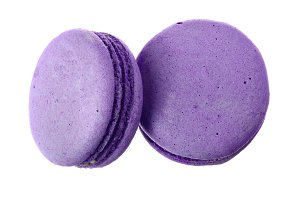 purple macaron isolated on white background without a shadow closeup. Top view. Flat lay