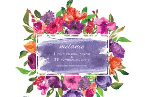 Watercolor Colorful Flowers Clipart