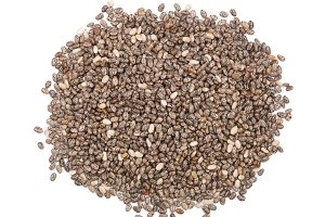 Chia seeds isolated on white background. Top view