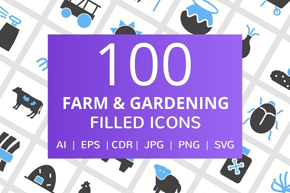100 Farm Gardening Filled Icons
