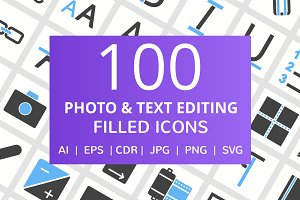 100 Photo & Text Editing Filled Icon