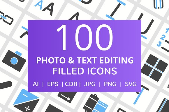 100 Photo Text Editing Filled Icon