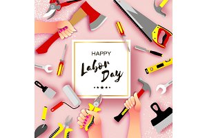 Happy Labor Day greetings card for national, international holiday. Hands workers holding tools in paper cut styl on sky pink. Square frame. Space for text.
