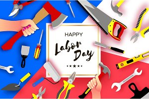 Happy Labor Day greetings card for national, international holiday. Hands workers holding tools in paper cut styl on sky blue. Square frame. Space for text.
