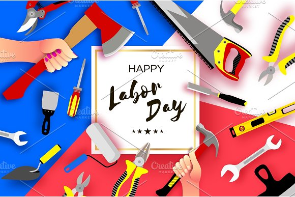Happy Labor Day Greetings Card For National International Holiday Hands Workers Holding Tools In Paper Cut Styl On Sky Blue Square Frame Space For Text