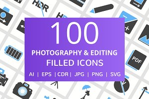 100 Photography & Picture Filled Ico