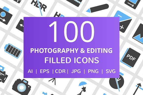 100 Photography Picture Filled Ico
