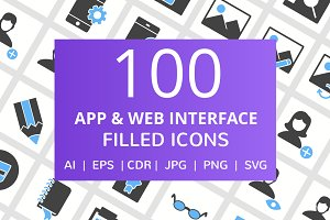 100 App & Web Interface Filled Icons