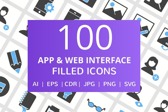 100 App Web Interface Filled Icons