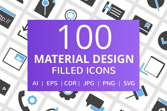100 Material Design Filled Icons