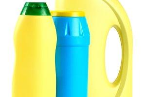 bottle of dishwashing detergent isolated on white background