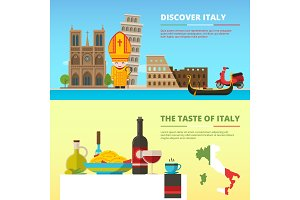 Background pictures of Italy. Banners set in flat style