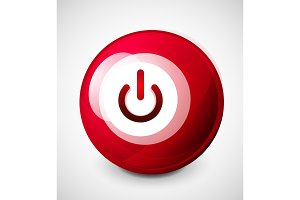 Start power sphere button, ui icon design, on off symbol