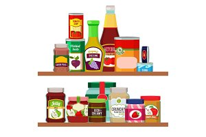 Supermarket foods. Grocery items on shelves