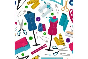 Seamless pattern for tailor shop with different sewing tools