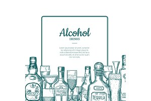 Vector hand drawn alcohol drink bottles and glasses frame with place for text with below illustration